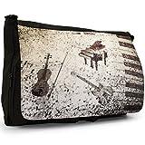 Grunge Noten Klavier Gitarre Geige Große Messenger- / Laptop- / Schultasche Schultertasche aus schwarzem Canvas