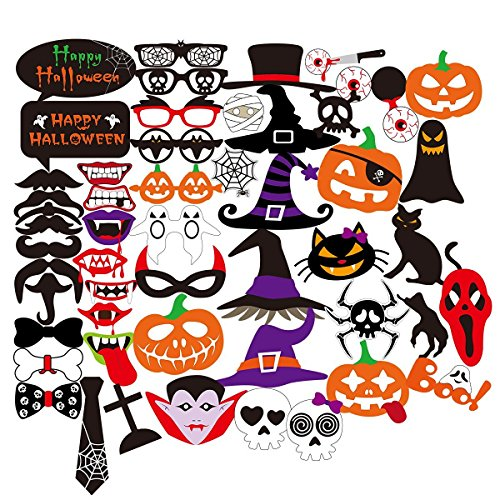 Requisiten Party Halloween (PBPBOX Halloween Photo Booth 52 Teile DIY Set Lustige Foto Booth)