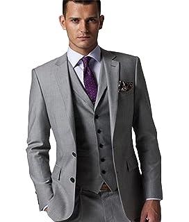 Nuptiale Costume Homme Mariage Cérémonie Couleur Unie Gris 2 Boutons 3  Pièces Veste Gilet Pantalons 385a53ccb8b