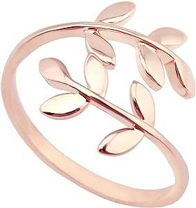 Elbluvf - Anello da donna regolabile in acciaio INOX con foglie di alloro 18 K