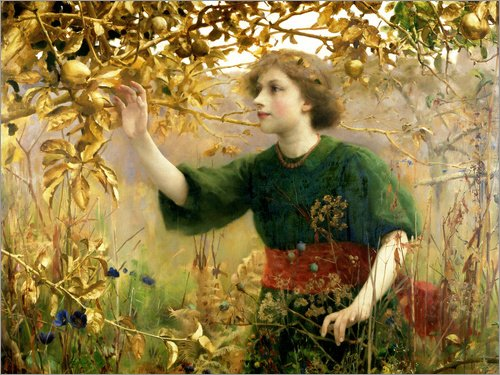 Forex-Platte 120 x 90 cm: Ein goldener Traum von Thomas Cooper Gotch / Bridgeman Images (Thomas Cooper Gotch)
