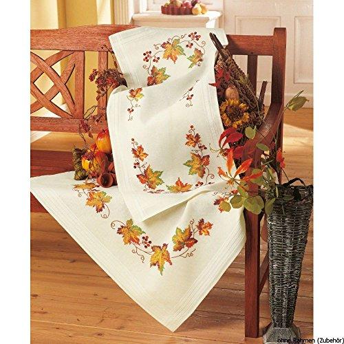 Vervaco Herbst Stickpackung/Tischdecke im vorgedruckten/vorgezeichneten Kreuzstich, Baumwolle, Mehrfarbig, 80 x 80 x 0.3 cm