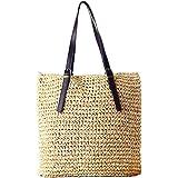 Defeng Strohtasche Damen Schultertasche Sommer Urlaub Strand Handtasche Strandtasche Damenhandtasche Tote Shopper