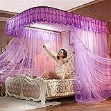 WanJiaMen'Shop Praktische Open Princess Moskitonetz Doppelbett Vorhänge Schlafvorhang Bett Baldachin Net, Lila, 150 * 200 cm