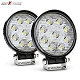 #5: AllExtreme 4Inch 27W Round LED Work Light Driving Fog Light Flood Beam Off Road Driving Light Waterproof for Jeep Truck Car ATV SUV Jeep Boat 4WD ATV 12V (Pack Of 2)