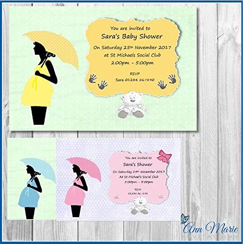 e Baby Dusche Einladungen Junge Mädchen Baby Dusche gelb blau rosa laden Karten (BS1-10) ()