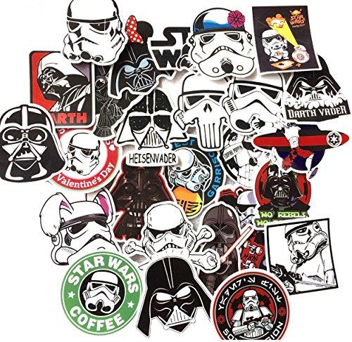 shopiseller Aufkleber Star Wars Vinyl (50 Stuck), Aufkleber (50) Stück Sticker Graffiti für Auto/Fenster/Wand/Laptop Sticker Bomb Star Wars Sticker Aufkleber Trooper Darth Vader Comic Film