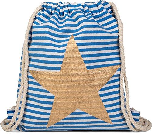 styleBREAKER Turnbeutel Rucksack im maritimen Streifen Design und Stern Print, Sportbeutel, Unisex 02012053, Farbe:Blau-Weiß/Gold