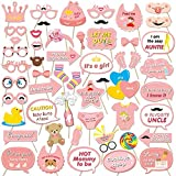 Konsait 53 Pcs Photo Booth bebés Niña photocall Accesorios Decoracion Máscaras Gafas con Palos para Baby Shower Decoraciones de Fiesta
