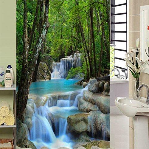 Alicemall Duschvorhang 3D Bad Wasserdicht Anti-Schimmel Vorhang 180cmx200cm (200x180 Wasserfall) Stoff Dusche Vorhang Grün
