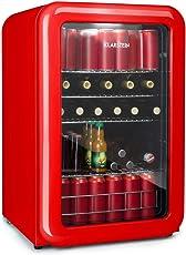 Klarstein PopLife Getränkekühler • Retro-Kühlschrank • Mini-Kühlschrank • 115 Liter • 0-10°C • doppelt verglaster Fronttür • LED-Licht • nur 39 dB • rot