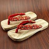 XIAMUO Giapponese di zoccoli di legno maschio e femmina amanti pantofole in legno maschio slittamento estive scarpe di legno infradito, 27 cm 43-44 metri, rosso a testa quadrata