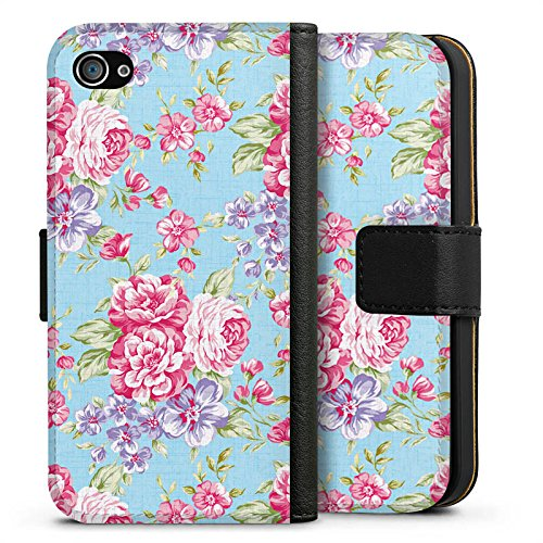 Apple iPhone X Silikon Hülle Case Schutzhülle Retro Frühling Flower Sideflip Tasche schwarz