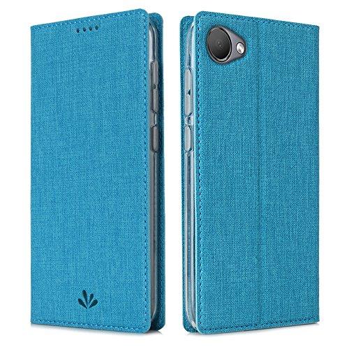 CRESEE HTC Desire 12 Hülle, Handyhülle Leder Tasche Flip Case Schutzhülle Magnetische Cover Standfunktion Kartenfächer Stoßfestes Brieftasche Tasche Fall für HTC Desire 12 (Blau) (Einzigartige Htc Desire Telefon Fall)