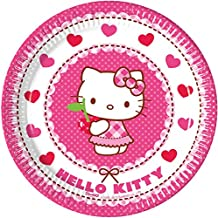 Procos 81792 – Hello Kitty Hearts Paper Plates, Pink/White