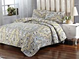 Queen , Victorian : Unique Styles Floral Victorian Damask Medallion Leaf Eclectic Flowers 3-Piece Quilt Set