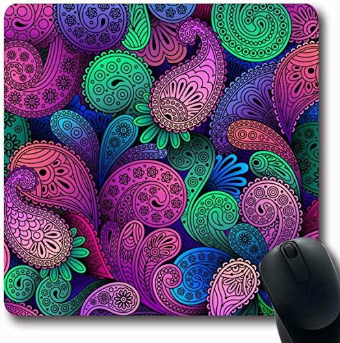 Persisch Blume (Luancrop Mousepad Längliche gewundene Indien-Paisley-Zusammenfassungs-persische flippige Blumen-Blumenmuster-Büro-Computer-Laptop-Notizbuch-Mausunterlage, Rutschfester Gummi)