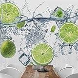 Fototapete - Erfrischende Limette - Vliestapete Quadrat, Größe HxB:288cm x 288cm