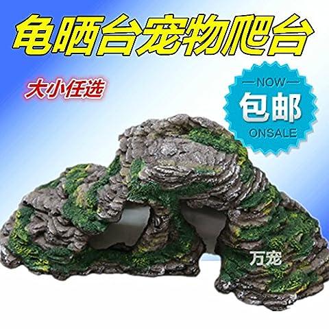Suunhh Tank Amphibie Roche Grotte Escape trou Tortue Rocaille Paysage Cylindre de 30*12*10cm, 20*10*8cm, taille d'environ
