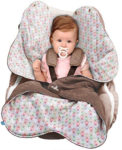 Wallaboo Einschlagdecke Heart für Babyschale, Autokindersitz, für Kinderwagen, Buggy, Babybett, Schönen Blumenform, Veloursleder und Baumwolle, 85 x 85 cm, 0 - 12 Monaten, Braun