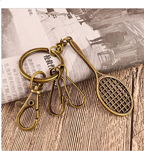 eMosQ Classic Vintage Metal Brass Creative Handmade Keychains Beautifully  Gift Boxed (tennis racket - antique bronze)