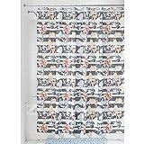 InterDesign Nori Duschvorhang aus Stoff, 183 x 183 cm, pastellgrau