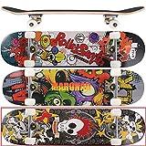 MARONAD Skateboard ABEC-7 Kugellager 80A PU Räder 9-lagigem Ahornholz 31x8 Inch (79x20cm) - SKULLY