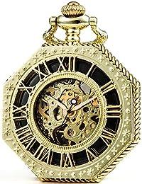 Sewor Octagon Old School Style creux Chiffres romains remontage manuel montre de poche (or)
