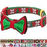 Blueberry Pet New Weihnachtsfreude Schneeflocken und Tannen Hundehalsband mit Abnehmbarer Fliege-Deko, Hals 30cm-40cm, S, Festtags-Halsbänder für Hunde