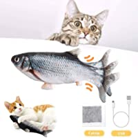 BTkviseQat Katzenspielzeug Elektrische Fische Katzenspielzeug mit Katzenminze, Simulation Elektrisch Spielzeug Fisch mit…