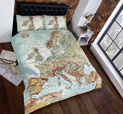 Vintage Maps Panel Duvet Cover Quilt Bedding Set, King Size (World Map in Blue, Green, Brown, White)