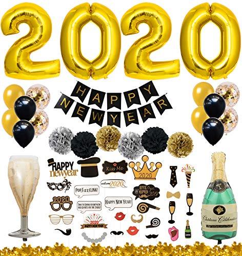 QILICZ Silvester deko 2020 Neujahr/Silvester Dekoration Set - Foto Requisiten,Champagnerflasche Kelch,Pompoms Blumen,Konfetti Luftballons,2020 Anzahl Foil Ballons,Happy New Year Banner,Konfetti