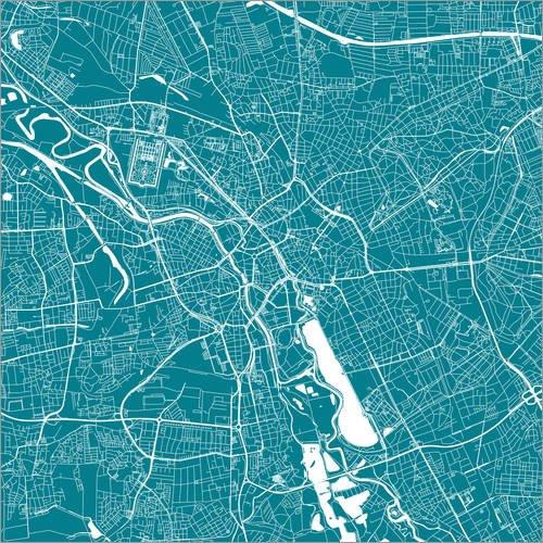 Posterlounge Alubild 13 x 13 cm: Stadtplan von Hannover von 44spaces