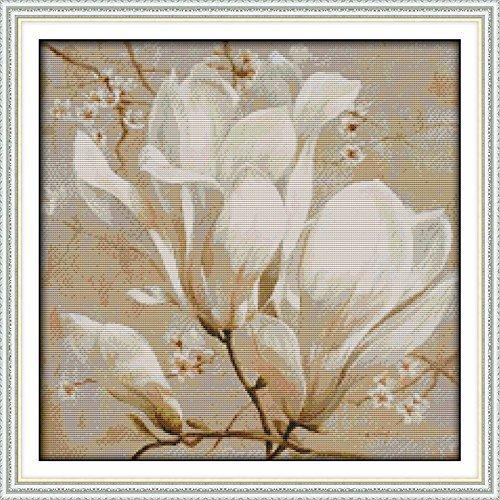 good-value-cross-stitch-kits-beginners-kids-advanced-magnolia-flower-11-ct-22x22-diy-handmade-needle