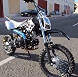 Pit bike avec moteur 4 temps 125cc. Dirt bike 4 temps, mini moto essence pour jeunes et adultes. Pitbike à essence, démarrage électrique, 4 vitesses.