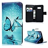 Lanveni S8 Hülle,Handyhülle für Flip Case Cover PU Lederhülle Schutzhülle Magnetverschluss Ledertasche Function Handy Tasche mit Bunte Gemalt Design für Samsung Galaxy S8 (Blauer Schmetterling)