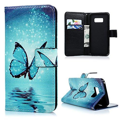 Lanveni S8 Hülle, Handyhülle für Flip Case Cover PU Lederhülle Schutzhülle Magnetverschluss Ledertasche mit Stander Function Brieftasche Card Slot Handy Tasche mit Bunte Gemalt Design für Samsung Galaxy S8 (Blauer Schmetterling)