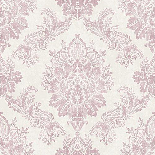 Rasch Bloomsbury Damask Pattern Floral Motif Traditional Metallic Wallpaper Pink 204827