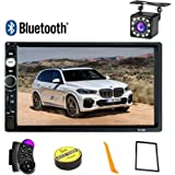 Double Din Car Stereo Bluetooth, 7 inch Touch TFT Digital Screen Car Multimedia MP5 Player Support SD/USB/AUX,Car Audio With FM Radio,Mirror Link,Steering Wheel Remote Control,Rear View Camera