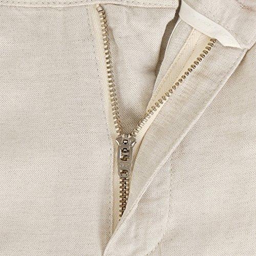 Leinen kurze Hose Herren Leinenshorts beige Anzughose casual weich knielang Beige