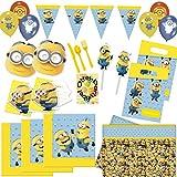 HHO Lovely Minions Dekoset 76tlg. für 6 Kinder Servietten Tischdecke Besteck Trinkhalme Girlande Masken Einladungen Luftballons Mitgebseltüten