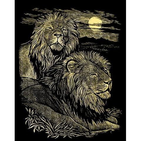 Reeves - Lámina para grabar en oro (20 x 25 cm, juego completo), diseño de leones