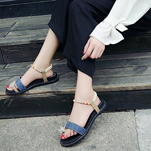 Lgk & fa estate sandali da donna a grandi dimensioni diamante sandali estate moda all-partita retro spiaggia scarpe fibbia a Student blue