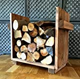 Kaminholzregal, Ständer für Kaminholz Kaminholzständer Kaminholzablage braun vintage shabby aus Holz fertig montiert
