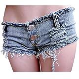 VADOOLL Damen Short Kurze Hose Denim Jeans Camouflage Hotpants Bund Stretch Slim Fit