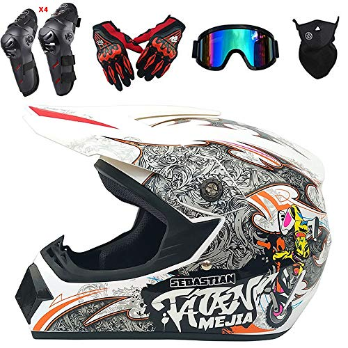 QYTK Motocross Helm Herren Integralhelm Weißes Monster, CK-19 Off-Road Enduro Motorradhelm Set mit Visier Brille Maske Handschuhe Knieschoner Ellenbogenschoner für ATV MTB Motorrad,L(56~57CM)