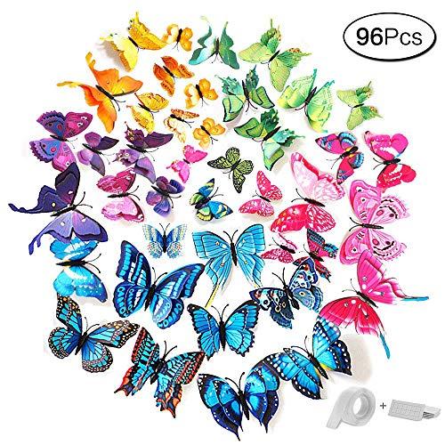 Fliege Kostüm Wand Der An - aoory 96 Stück 3D Schmetterlinge Wanddeko Dual Layer Aufkleber Abziehbilde für Wohnung Raumdekoration