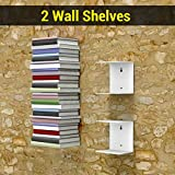TIED RIBBONS Wall Mounted Book Shelf Heavy Duty Metal Invisible Book Shelves for Bedrooms Living Room Office Study Room Home Decorations (Set of 2 Book Shelves, White, Metal)