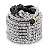tillvex flexiSchlauch - Flexibler Gartenschlauch - GreyElite Edition + Messing- & Aluminiumverstärkte Anschlüsse - 30m Grau