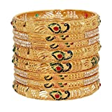 Mansiyaorange Traditional Fancy Designer Casual Party Wedding Wear Original Hand Work Meena One Gram Gold Multi Color Golden Bangles for Women Stylish